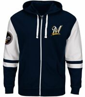 Milwaukee Brewers MLB Majestic Full Zip Men's Hoodie, Blue, Big and Tall, nwt