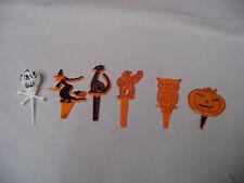 Halloween Plastic Owl, Man, Witch, Black Cat, Jack-O-Lantern Decorations Retro