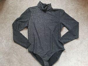 Gorgeous Black & Silver Turtle Neck Body Suit  size 22 Next