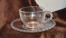 Cup Hazel Atlas Glass Ball Beaded Imperial Candlewick Saucer Cup and Saucer set