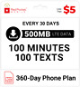 $5/Mo Red Pocket Prepaid Wireless Phone Plan+SIM: 100 Talk 100 Text 500MB
