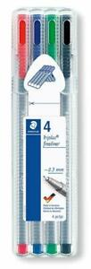 Multicolor Staedtler 4 Triplus 4 Piece Fineliner Pen 0.3 MM With Metal-Clad Tip