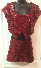 Betsey Johnson Top Sequin Red Crop Jacket & Mini Skirt Size M Medium Club