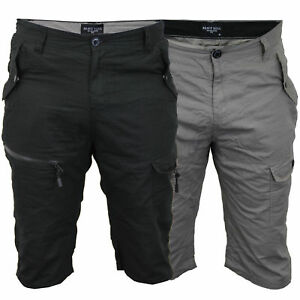 Mens Cotton Twill Cargo Shorts Brave Soul Saber 3/4 Length Pants Casual Summer
