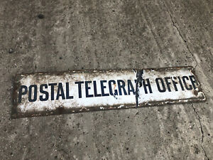 RARE OLD POSTAL TELEGRAPH OFFICE ENAMEL SIGN