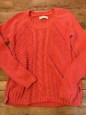 Coral  LARGE Abercrombie and Fitch CABLE KNIT CREW NECK NWOT!