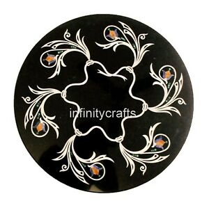 13 Inches Black Marble Coffee Table Top Mosaic Art Corner Table for Home Decor