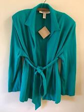 American Glamour Badgley Mischka Turquoise Knit Belted Cardigan sz 2x Plus