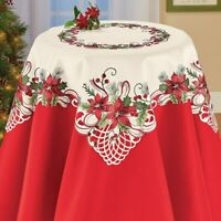 Pretty Embroidered Poinsettia & Berries Square Christmas Polyester Tablecloth
