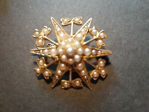 9ct Gold Brooch Starburst Style