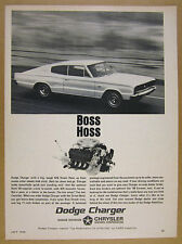1966 Dodge Charger 426 Street Hemi 'BOSS HOSS' car engine photo vintage print Ad