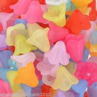 200 Mix Matt Blumen Acryl Spacer Perlen Beads Zwischenteile 14x10mm