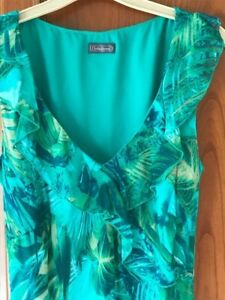 Gorgeous Green Frilly, Knee length lined Chiffon style Dress size 14