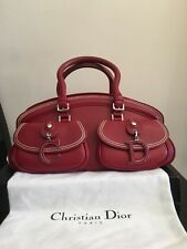 100%Christian Dior Limited Edition Red Leather Handbag with white stitching