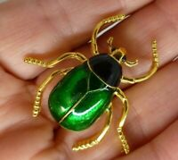 Beetle brooch Vintage style gold plate green black enamel insect pin gift box