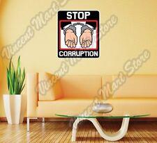 "Stop Corruption Handcuffs Dishonest Wall Sticker Room Interior Decor 22""X22"""