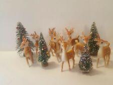 8 Vintage Brown Spotted Christmas Reindeer Rubber Plastic Japan Movable Head 5�