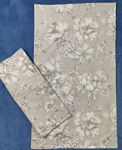 """LAURA ASHLEY 2 Pillow Shams King Size Floral Cottage Gray White 38 X 22"""" NEW"""