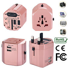 Universal World Travel Adapter With Dual USB Charger Wall AC Power -Rose Gold