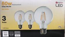 3 Pak Utilitech LED 60w Globe Light Bulbs Soft White Uses 5w Dimmable 10,000 Hrs
