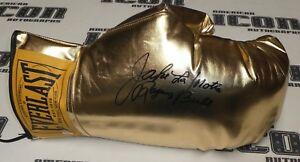 Jake LaMotta Signed Jumbo Gold Boxing Glove PSA/DNA The Raging Bull Autograph