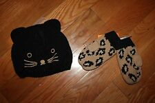 NWT Gymboree Right Meow Size 4T-5T Black Kitty Cat Hat Leopard Mittens