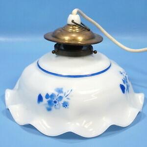 Antique German HANGING LAMP Blue White Ruffled Porcelain Shade Brass Trim c1920