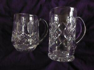 Vintage Royal Doulton Cut Crystal Glass 1/2 pint tankard and larger 1pt tankard