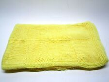 Vintage Hand Knit Crocheted Baby Blanket Afghan Yellow 38'' x 48''