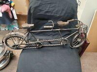 Vintage Metal And Wood Tandem Bicycle Missing One Handle