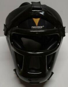 ProForce Thunder Sparring Head Guard Vinyl Headgear with Face Shield-Black LG/XL