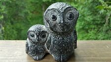 Vintage Nuvuk Canada Carved Soapstone Mother And Baby OWL Dark Grey Wide Eye