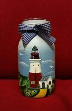Light house hand painted mason jar / tea light with cloth bow. New other.