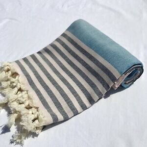 Authentic Turkish Peshtemal %100 cotton grey/blue