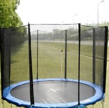 12FT Round Trampoline Enclosure Safety Net Fence Replacement W/Sleeves 8 Poles