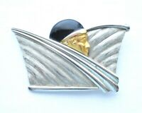 VTG Art Deco Style Flapper Jazz Age Brooch Pin Signed JJ Figural Costume Jewelry