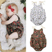 Newborn Infant Baby Girls Casual Floral Romper Bodysuit Outfit Clothes Summer