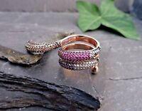 Rosé 925 Silber Ring Doppelring Blaue Rote Weiße Gelbe Grüne Steine Defekt Groß