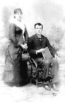 ANTIQUE 8 x 5  GLASS PHOTO NEGATIVE -- 1860-1890 - YOUNG COUPLE