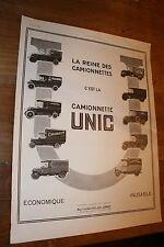 PUBLICITE AD - CAMIONNETTE UNIC 1925