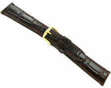 20mm T&C Wild Croco Grain Brown Genuine Leather Padded Stitched Watch Band Strap