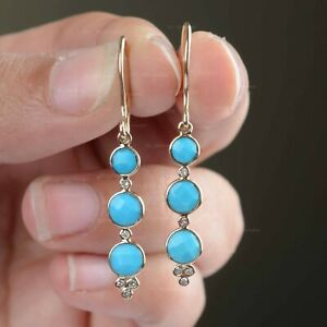 Triple Round Turquoise Solid 14K Yellow Gold Diamond Dangle & Drop New Earrings