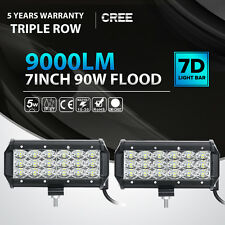 2X 7Inch 90W Cree Led Work Light Bar FLOOD Tri-Row Offroad Driving 4WD Truck SUV