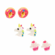 Claire's Girl's Glitter Unicorn and Treat Stud Earrings In Pink/White