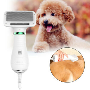 Pet Hair Dryer Comb Brush Dog Cat Grooming Fur Blower Heater Portable Low Noise