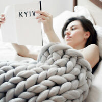 Chunky Knitted Thick Blanket Hand Yarn Bulky Knit Throw Sofa Blanket 100 by 120