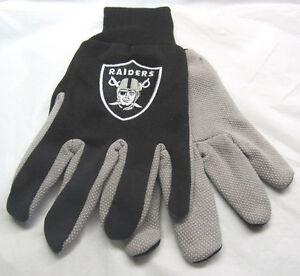 NFL Las Vegas Raiders Colored Palm Utility Gloves Black w/ Gray Palm by FOCO