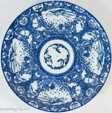 Antique Chinese Porcelain Charger Blue and White Heron and Turtle 14 Inch