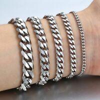 Men's Bracelets Silver Stainless Steel Curb Cuban Link Chain Men Women Jewelry