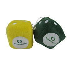 Brand New NCAA Oregon Ducks Rear View Mirror Soft Plush Fuzzy Hanging Dice